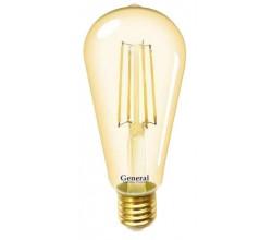 Лампочка 655301 ST64S-8-E27-2700 Золото General