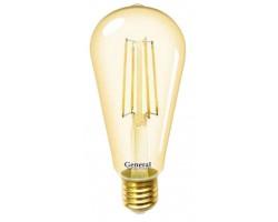 Лампочка 655303 ST64S-13-E27-2700 Золото General